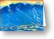 Orange Greeting Cards - Big Wave Greeting Card by Douglas Simonson