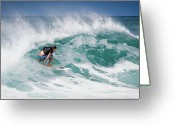 Surf Lifestyle Greeting Cards - Big Wave Surfer at La Perouse Bay Maui Greeting Card by Denis Dore