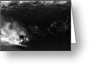 Surf Photography Greeting Cards - Big Wave Surfing Greeting Card by Brad Scott