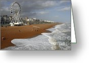 Big Wheel Greeting Cards - Big Wheel Brighton Seafront Greeting Card by Urban Shootaz