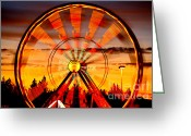 Ferris Wheels Greeting Cards - Big Wheels Greeting Card by Cheryl Young
