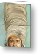 Wall Street Painting Greeting Cards - Big Wig Greeting Card by Leah Saulnier The Painting Maniac