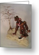 Fantasy Creature Ceramics Greeting Cards - Bigfoot on Crystal Greeting Card by Judy Byington