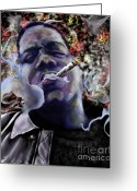 Hip-hop Greeting Cards - Biggie - Burning Lights 5 Greeting Card by Reggie Duffie