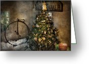 Penny Farthing Greeting Cards - Bike - I wanna bike for Christmas  Greeting Card by Mike Savad