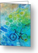 Recreation Mixed Media Greeting Cards - Bike Greeting Card by Arlissa Vaughn