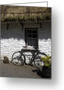 County Clare Greeting Cards - Bike at the Window County Clare Ireland Greeting Card by Teresa Mucha