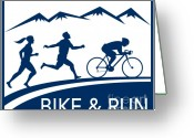Biking Greeting Cards - Bike Cycle Run Race Greeting Card by Aloysius Patrimonio