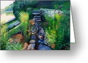 Greenwich Greeting Cards - Bike in the Butterfly Garden Greeting Card by Colleen Proppe