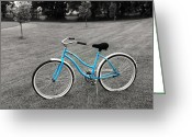 Selective Color Greeting Cards - Bike in the Park Greeting Card by Brian Mollenkopf