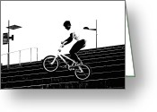 Tricks Greeting Cards - Bike Jumper Greeting Card by Kenneth Mucke