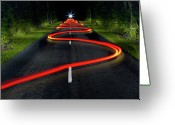 The Way Forward Greeting Cards - Bike Leaving Red Light Trails Greeting Card by Christophe Kiciak