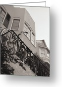 Fence Greeting Cards - Bike Locked On Fence Against House Greeting Card by Copyright Ricky G. Brown 2011