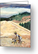 Marin Greeting Cards - Bike Ride above Bolinas Fog Greeting Card by Colleen Proppe