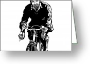 Wheels Greeting Cards - Bike Rider Greeting Card by Karl Addison