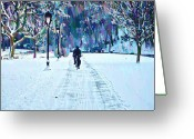 Fairmount Park Greeting Cards - Bike Riding in the Snow Greeting Card by Bill Cannon