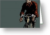 Bike Riding Greeting Cards - Bike Riding with Color Greeting Card by Karl Addison