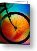 Wheels Greeting Cards - Bike Silhouette Greeting Card by Garry Gay