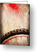 Layered Textures Greeting Cards - Bike wheel Red spray Greeting Card by Silvia Ganora