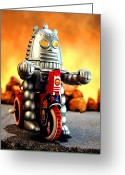 Bicycle Greeting Cards - Biker Bot Greeting Card by L S Keely