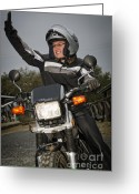 Older Woman Photo Greeting Cards - Biker Lady Greeting Card by Andre Babiak