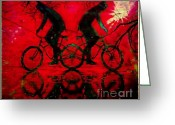 Tricks Greeting Cards - Bikes Greeting Card by Tisha McGee