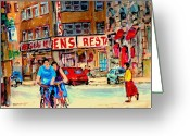 Resto Cafes Greeting Cards - Biking  Past Ben Greeting Card by Carole Spandau