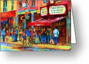 Montreal Citystreets Greeting Cards - Biking Past The Deli Greeting Card by Carole Spandau