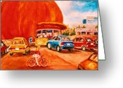 Orange Julep Greeting Cards - Biking Past the Orange Julep Greeting Card by Carole Spandau