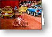 Orange Julep Greeting Cards - Biking To The Orange Julep Greeting Card by Carole Spandau