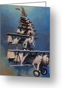 Airplane Greeting Cards - Bill Boeings Fever Dream Greeting Card by Kevin Lawrence Leveque