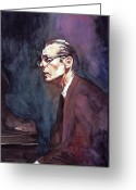 Featured Artist Painting Greeting Cards - Bill Evans - Blue Symphony Greeting Card by David Lloyd Glover