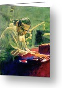 Steinway  Greeting Cards - Bill Evans Quintessence Greeting Card by David Lloyd Glover