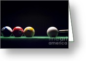 Cue Ball Greeting Cards - Billiard Greeting Card by Tony Cordoza