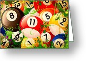 Fourteen Greeting Cards - Billiards Collage Greeting Card by David G Paul