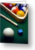 Green Greeting Cards - Billiards Greeting Card by Tony Cordoza