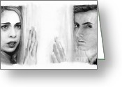 Charcoal Greeting Cards - Billie Piper and David Tennant Greeting Card by Rosalinda Markle