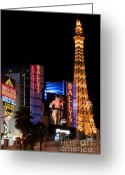 Night Time Greeting Cards - Bills Ballys and Paris Greeting Card by Andy Smy