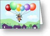 Cartoons Greeting Cards - Billy Above The Rooftops Greeting Card by Arline Wagner