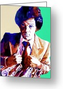 Legends Greeting Cards - Billy Joel - New York State of Mind Greeting Card by David Lloyd Glover