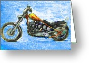 Stars And Stripes Mixed Media Greeting Cards - Billys Bike Greeting Card by Russell Pierce