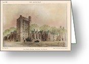 Yale Painting Greeting Cards - Bingham Dormitory. Yale University. New Haven Connecticut 1926 Greeting Card by Walter Chambers