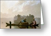 Trader Greeting Cards - Bingham: Fur Traders, 1845 Greeting Card by Granger