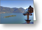 Telescope Greeting Cards - Binoculars focused on the Isole di Brissago Greeting Card by Joana Kruse
