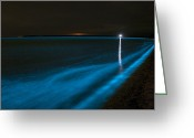 Luminescence Greeting Cards - Bioluminescence In Waves Greeting Card by Philip Hart
