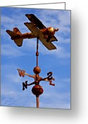 Weather Vane Greeting Cards - Biplane weather vane Greeting Card by Garry Gay