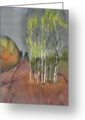 Trees Tapestries - Textiles Greeting Cards - Birch Grove 1 Greeting Card by Carolyn Doe