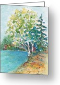 Clump Greeting Cards - Birch On The Beach Greeting Card by Pat Katz