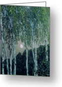 Trees Oil Greeting Cards - Birch Trees Greeting Card by Aleksandr Jakovlevic Golovin