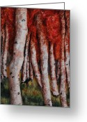 Trees Sculpture Greeting Cards - Birch Trees in Autumn Greeting Card by Alison  Galvan